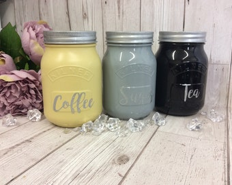 Grey/Black/Yellow Kitchen Canister Kilner Jars Tea Coffee Sugar Kitchen Set,Set of 3 Glass