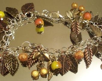 Autumn Bracelet, AUTUMN HARVEST, Charm Bracelets, Free Shipping Thanksgiving Bracelet, Fall Bracelet, Holiday Bracelet, Chain Bracelet, Gift