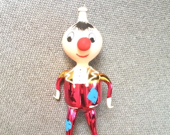 Vintage De Carlini Italian Blown Glass Ornament - Pinocchio character with long nose, Christmas ornament