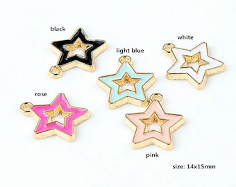 10PCS, 14x15mm, Enamel Charm, Star Charm, Enamel Star, Enamel Jewelry, Bracelet Charm, Craft Supplies, Gold Tone