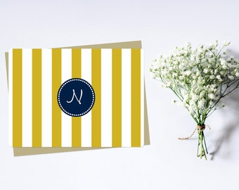 Yellow & Navy Stripe Monogram Stationary, Set of 12