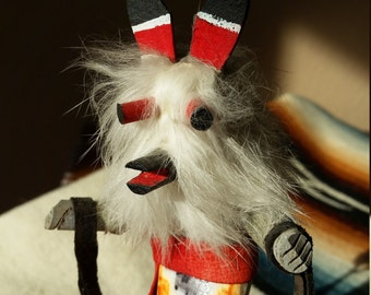 Vintage Wolf Kachina Doll Master Hunter Kweo Native American Hopi