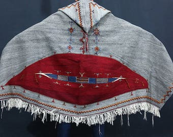 Antique Gray Berber Hooded Akhnif Tribal Cape, Vintage Old moroccan berber All wool cape