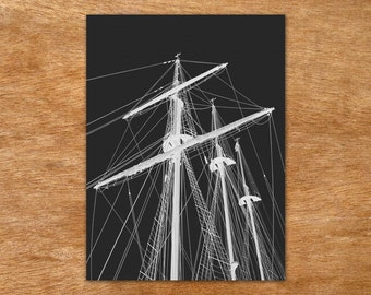 Tall Ship - white on black handmade screen print