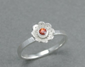 solid sterling silver orange sapphire flower ring. sterling flower ring. silver garden ring. springtime. size 8 artisan handmade
