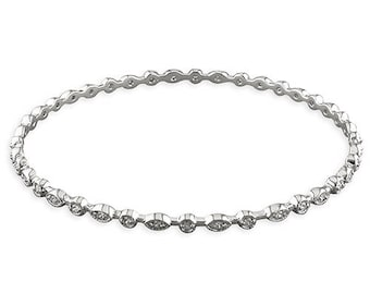 Textured Rounds and Ovals Set with Cubic Zirconias Sterling Silver Bangle