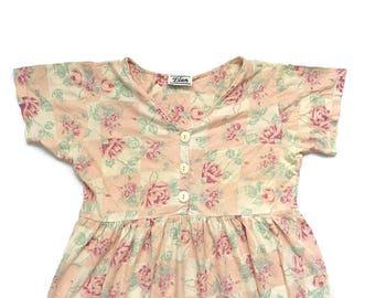 90s Grunge Floral Babydoll shirt Dress