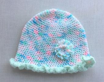 Variegated Yarn Ruffled Baby Cap