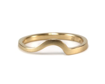 14k Gold Nesting Band- curved band, alternative bridal, 14k, solid gold, handmade, gold ring, stacking band, wedding band, delicate