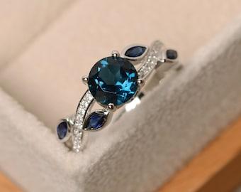London blue topaz ring, leaf ring, multistone ring, gemstone ring, topaz ring silver