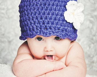 Purple Baby Hat 0 to 3 Month Baby Girl Hat Crochet Flower Hat Flapper Beanie Flapper Hat Spring Photo Prop Photography Prop Baby Girl Gift