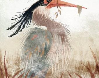 Great Blue Heron // 8x10 // Art Print // Animal Art // Digital Illustration