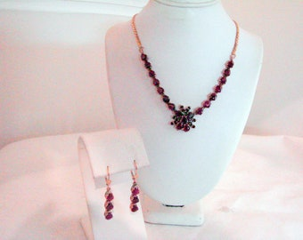 Vintage Ruby and Gold Necklace and Earring Set