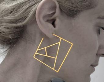 geometric earrings, square earrings, statement earrings, sterling silver earrings, contemporary earrings, architectural hoop, gift for her