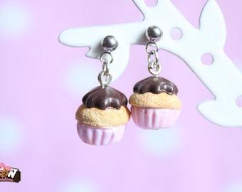 Earring dangle chips - little cupcake