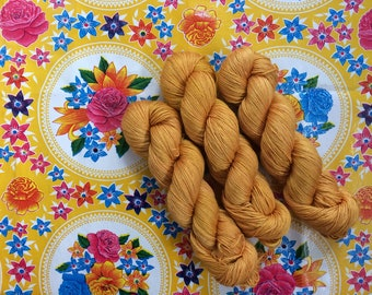 NEW Hand dyed merino and silk yarn 4ply finger weight 100g. In Kahlo. ethically sourced.