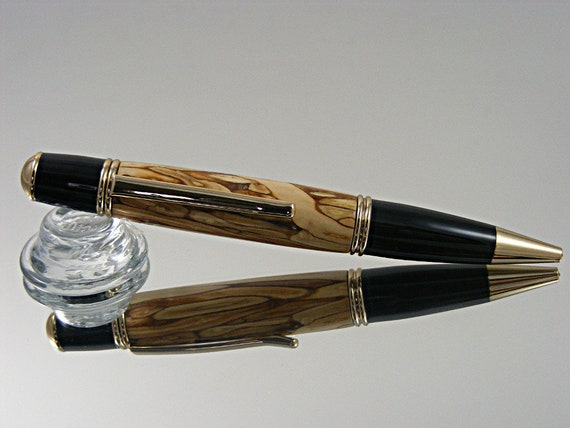Handcrafted Ink Pen in Gold and Black Enamel with Apple Harvest Wood