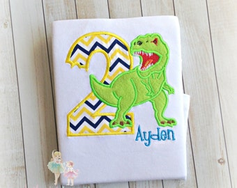 Dinosaur Birthday shirt - T- REX birthday shirt - Boys scary dinosaur shirt - dino birthday shirt for boys - custom embroidered shirt
