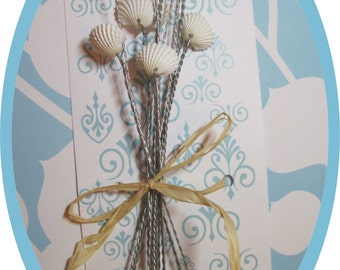 Beach Wedding- Natural Seashells - Seashell Bouquet Wired Shells - Arcs - Wired Seashells - Seashell Stems - Use in your Fresh Bouquet