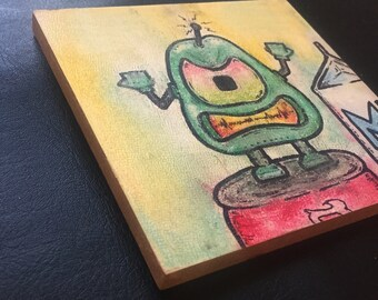 "Robot Class Photo #14: Donald (Pastel/Ink on 5""x5"" canvas panel)"