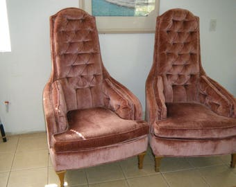 Vintage Pair Of Pink Elegant Tufted High Back Hollywood Regency Arm Chairs