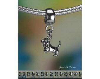 Tiny Basset Hound Charm or European Charm Bracelet Sterling Silver