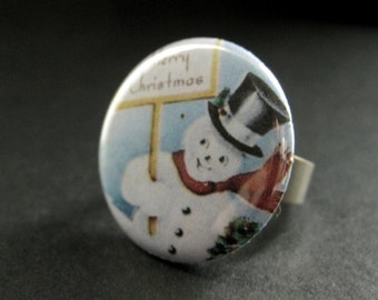 Snowman Ring. Christmas Ring. Holiday Ring. Adjustable Ring in Silver. Christmas Jewelry. Handmade Jewelry.