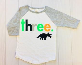 Boy's 3rd Birthday Shirt Dinosaur