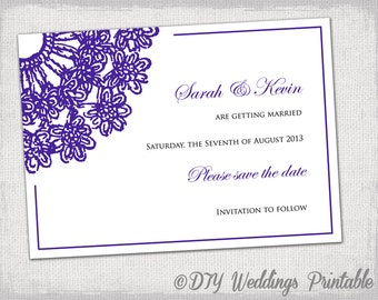"""Save the date template DIY Eggplant purple wedding save the date cards printable """"Lace Doily"""" YOU EDIT save the dates instant download"""