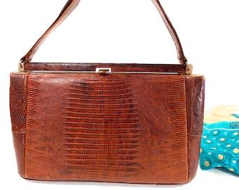 Leon of California, 1940s Top Handle, Brown, Genuine Lizard, Alligator, Reptile, Handbag, Clutch, Evening Bag, Satchel, Purse