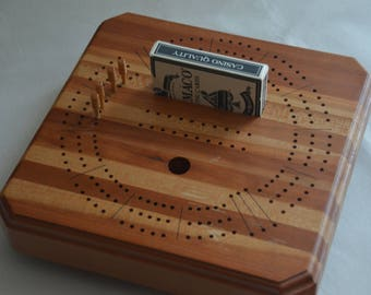 """eb2489 Revolving Cribbage Board Beautifully Crafted 9.75"""" x 9.75"""" x 2.75"""" Tall"""