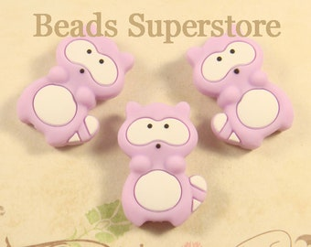 32 mm x 22 mm Violet Silicone Raccoon Bead - Food Grade Teething Bead - Teething Necklace Silicone Bead