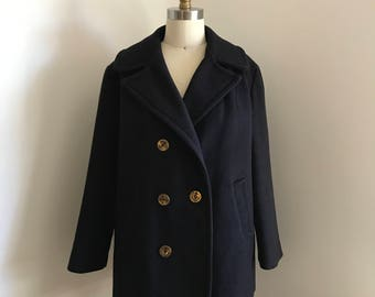 Vintage 60s Graff Californiawear Commuter Navy Blue Peacoat SIze S/M