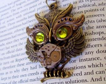 Steampunk Necklace (N629) Owl Pendant, Dame Edna Owlet, Steampunk Owl, Swarovski Crystals, Brass Chain
