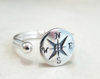 Compass ring, Sterling Silver, adjustable, Nautical jewelry