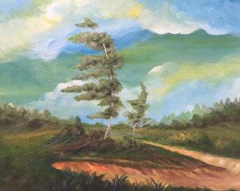 Two Sisters: Landscape painting, landscape art, paintings, landscape, trees clouds landscape, acrylic painting, cloud art, tree painting art
