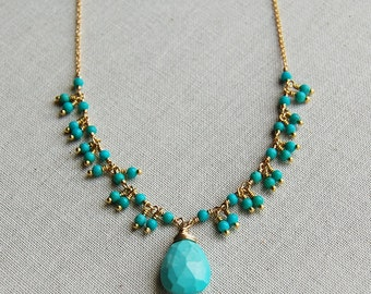 Delicate Turquoise Fringe Teardrop Pendant Necklace in Gold Filled