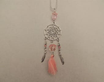 Long necklace pink dream catcher