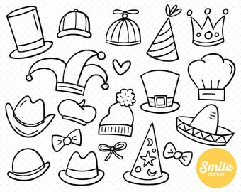 Line Art Hats Clipart Illustration for Commercial Use | 0119