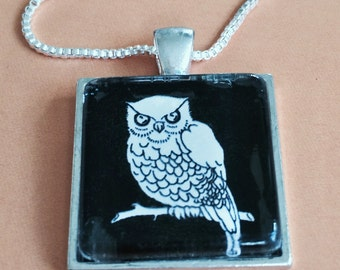 Owl Black and White Pendant Necklace