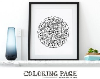 Printable Coloring Page Mandala Doodle Zentangle Adult Coloring Page Anti Stress Art Therapy Art Instant Download Zen Digital Printable Art