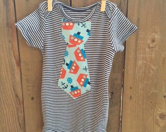 12 Month Bodysuit with a Boat/Nautical Iron On Tie