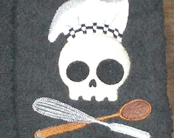 Pair of hand towels - Skull Chef - cooking themed EMBROIDERED 15 x 25 inch terry cloth for kitchen