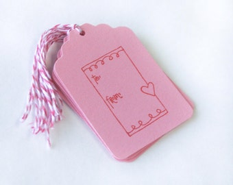 To From Valentine's Tag Set 6 Blank holiday bakers twine treat tag