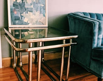 Vintage Square Brass Side Table / Hollywood Regency Gold End Table