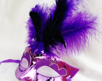 Masquerade Mask in Purple With Black & Purple Feathers/Mardi Gras Mask/ Venetian mask/Ladies mask/Party mask/New Orleans carnival/halloween