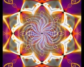 528HZ -- Tapestry, Wall Hanging - Original Pumayana Visionary Healing Art, Spiritual, Psy, Shamanic, Sacred Geometry, Entheogenic Art