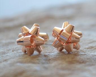 Rose Gold & Gold Christmas Holiday Ribbon Bow Earrings, Small Dainty Studs Bridal Bridesmaid Wedding Gifts