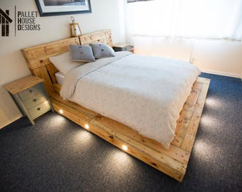 Custom King Size Pallet Bed With Floating Step