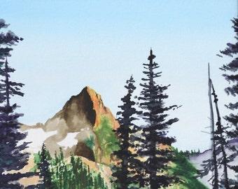 "Mountain Landscape 8"" x 10"" Original Watercolor Illustration"